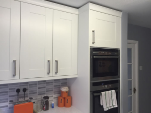 The new kitchen cupboards and built in cooker