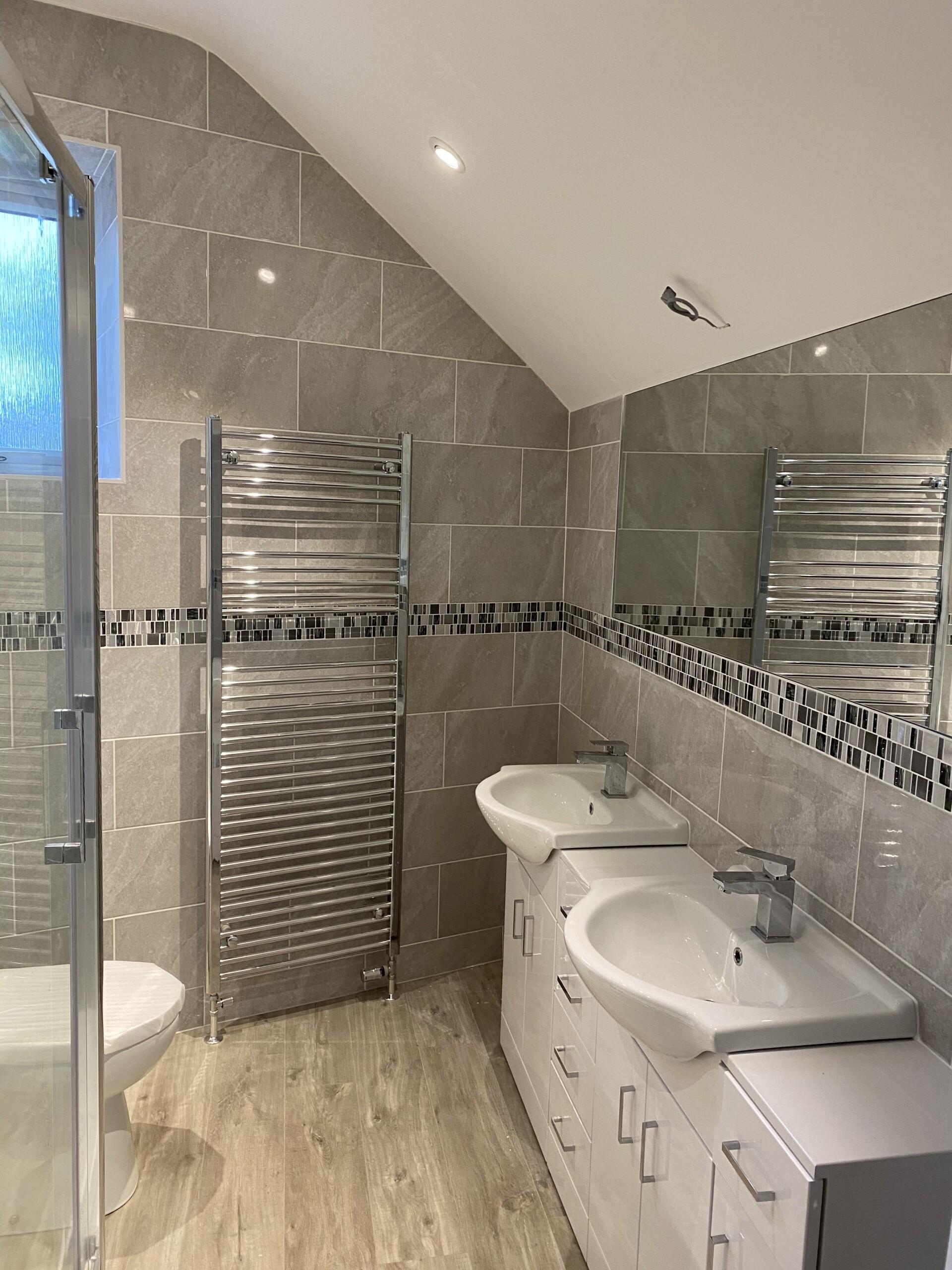 Redmarley En-suite Bathroom Mirror view with Tiles set in a brick bond patternn tiling