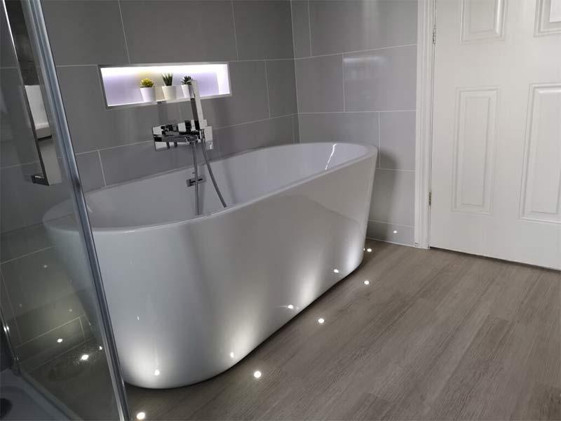 bathroom installation tiling and lights by Orbital